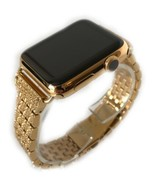 24K Gold Plated 42MM Apple Watch SERIES 2 Gold Links Band w Diamond Rhin... - $697.32