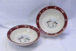 "Royal Seasons Snowmen Xmas Serving Bowls 10"" Lot of 2 - $45.07"