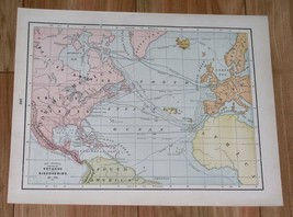 1896 ORIGINAL ANTIQUE MAP OF NORTH ATLANTIC DISCOVERIES AMERICA COLUMBUS  - $9.90