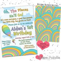 Oh the places you'll go Birthday Invitation Boy Girl PRINTABLE FREE thank you - $12.00