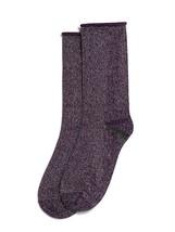 HUE Womens Metallic Roll Top Socks Eggplant Purple Silver Metallic - NWT - $4.73