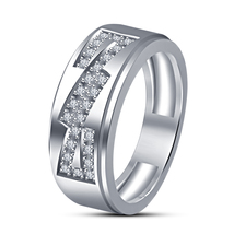 18K White Gold Plated Round Cut Sim Diamond Wedding Engagement Men's Band Ring - $79.80