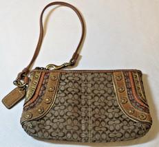 """Coach Monogram khaki brown multi zipper wristlet purse bag 4"""" X 6.5"""" pre... - $37.41"""