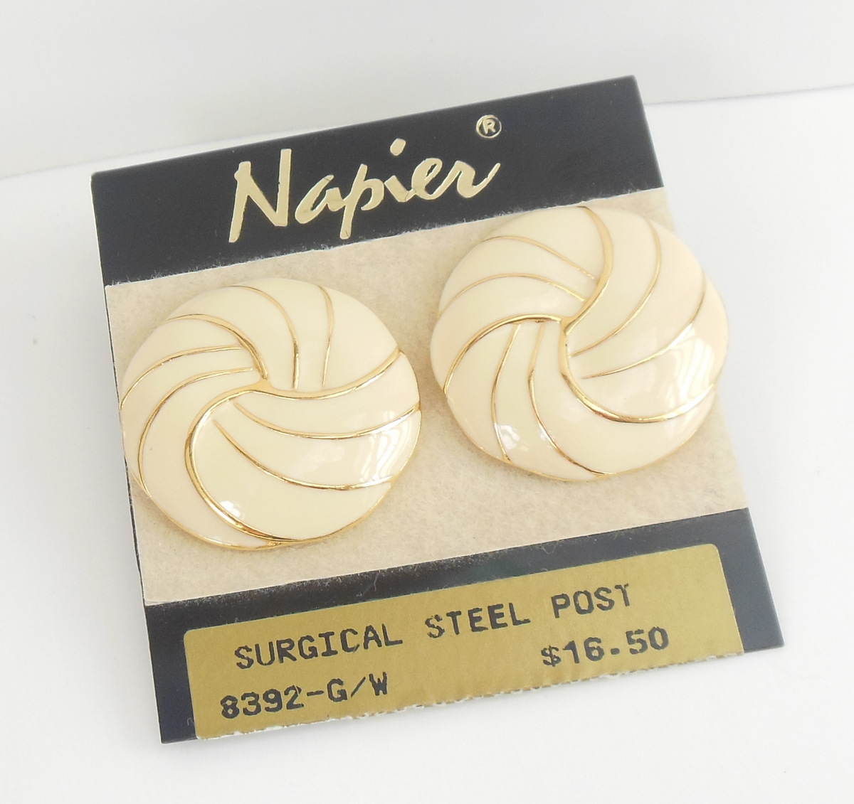 Ladies Napier Earrings Swirled Pattern Cream Color Pierced Surgical Steel Posts