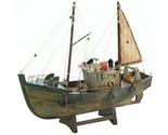 Rustic Fishing Shrimp Boat Ship Model Nautical Statue