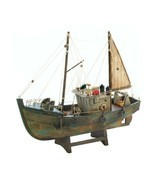 Rustic Fishing Shrimp Boat Ship Model Nautical Statue - $43.49