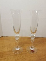 GORHAM CRYSTAL FROSTED HEART CHAMPAGNE FLUTES SET OF 2 - $34.95