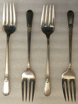 """Adoration 1847 Rogers Bros Is 1930 Silverplate *** 4 Salad Forks /S **** 6 5/8"""" - $8.56"""