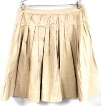 Talbots Petites Stretch Shadow Box Pleated Beige Knee Length Skirt 14P N... - $55.99