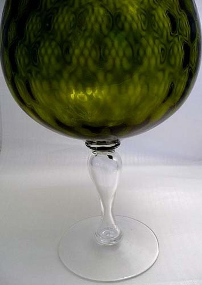 FENTON XLARGE Olive DIAMOND OPTIC Brandy Snifter Vase 1950s Mid Century Mod image 10