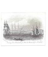 Railway Pier Blackwall Steel LIne Engraving 1851 J T Wood Views of Londo... - $9.95