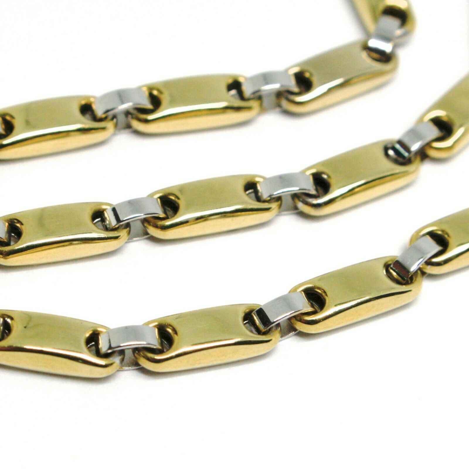 18K YELLOW WHITE GOLD CHAIN, TUBE AND OVAL ALTERNATE LINK, 20 INCHES, ITALY MADE