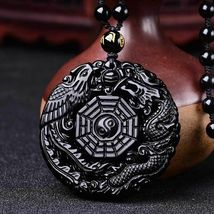 Lucky Pendant Necklace Natural Obsidian Carved Chinese Dragon Phoenix Bagua image 12