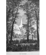 YOSEMITE FALLS Sierra Nevada California - 1883 German Print - $21.60