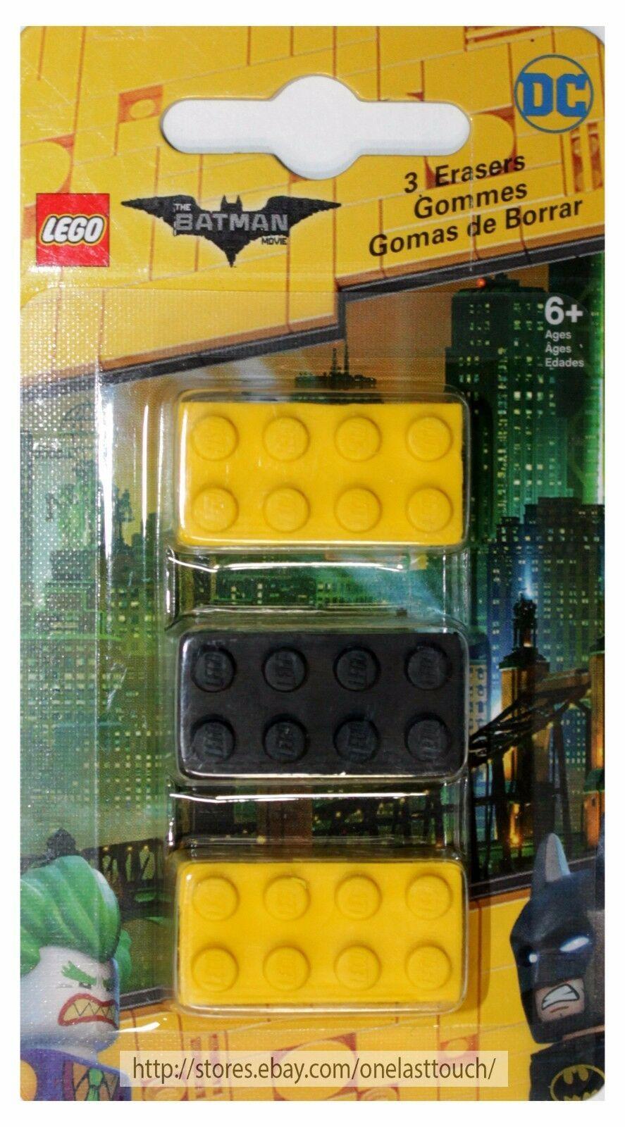 SANTOKI* 3pc LEGO MOVIE Brick Shaped Erasers BATMAN+NINJAGO New! *YOU CHOOSE* image 2