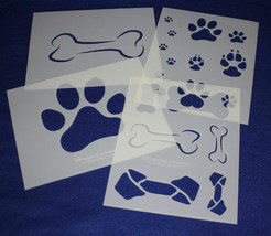 4 Pc Set -Mylar 14 Mil Dog Bone Paw Print LG Stencils  Painting/Crafts/S... - $35.99