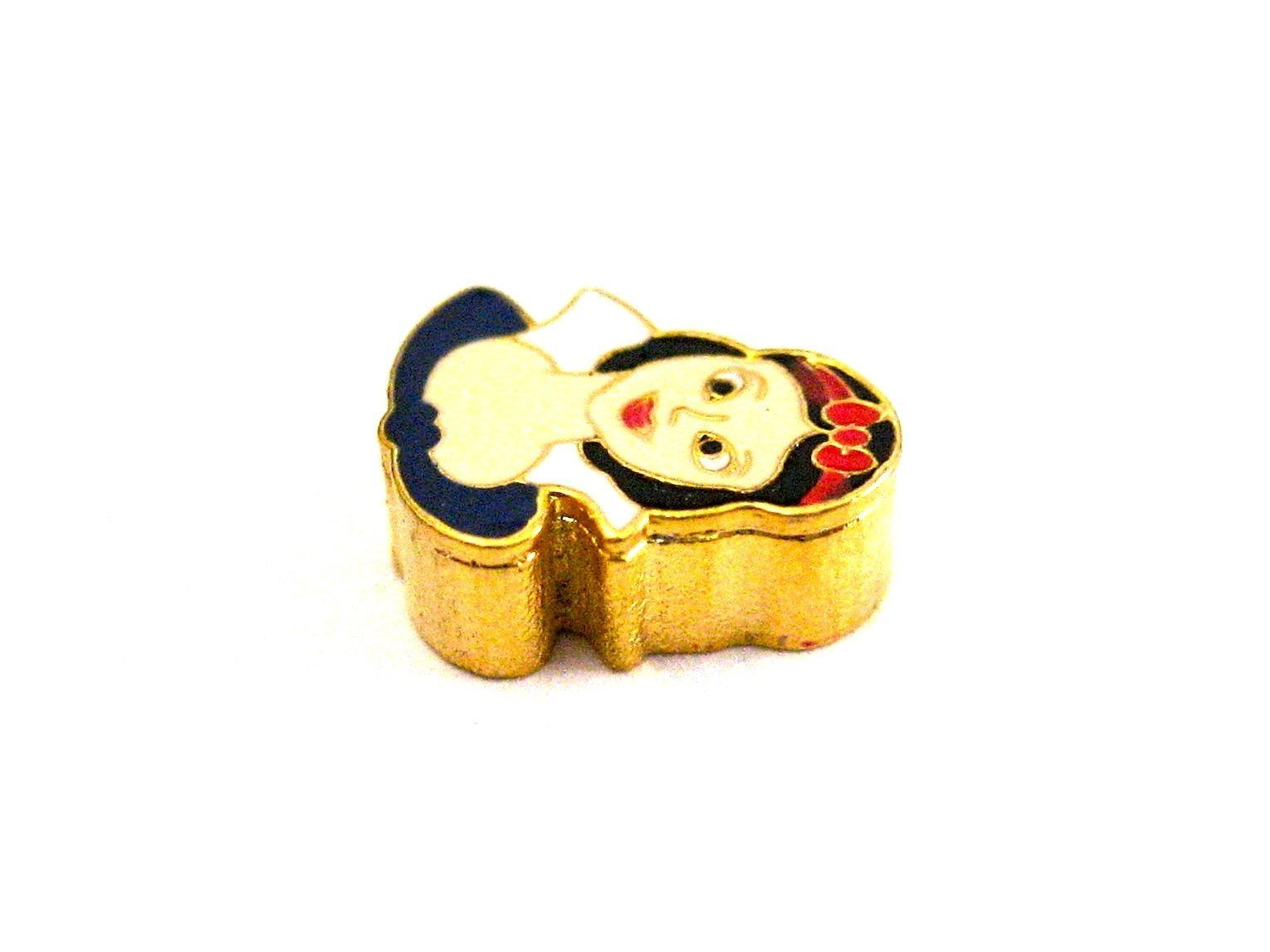 BRACCIALE DISNEY PRINCESS SNOW WHITE HEAD STAINLESS STEEL GOLD PLATED CHARM