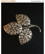 Vintage Sterling Silver Scrollwork Leaf Brooch Pin Germany  - $59.95