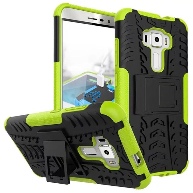 Hybrid Armor Kickstand Cover Case For ASUS ZenFone 3 ZE552KL 5.5inch - Green