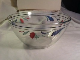 """Lenox POPPIES ON BLUE Glassware Round All Purpose Serving Bowl- 9.5""""- Excellent - $24.85"""