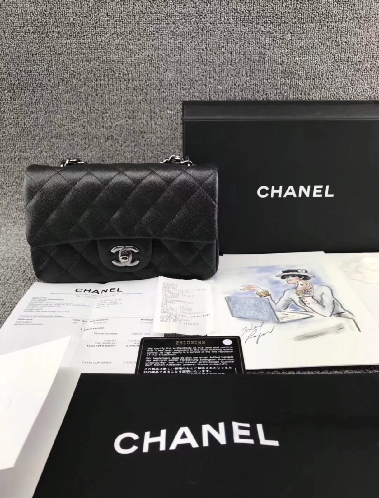 BRAND NEW AUTHENTIC CHANEL 2018 BLACK CAVIAR LARGE MINI RECTANGULAR FLAP BAG