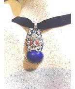 Vintage Silver Bronze Repose Geniune Tibet Lapis Lazuli Dragon Pendant N... - $64.35