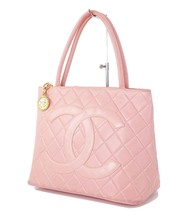 Auth CHANEL Pink Quilted Lambskin Leather CC Medallion Tote Bag #34093 - $695.00