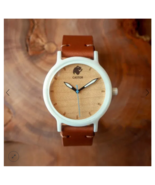 Andes Ceramic & Wood Leather Band Watch Unisex - $99.95