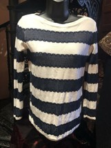 Tommy Hilfiger Spitze Pullover Weiß-marine Blaue Spitze Pullover - $35.59