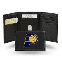 Indiana Pacers Wallet Official NBA RICO Embroidered Trifold Leather Black - $33.45