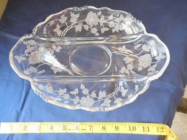 Heisey Glass Rose Etch Waverly 3 Compartment Relish Dish Uranium Vaselin... - $19.99