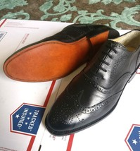 Black Leather Wingtip shoes for men traditional brogue Men's shoes - $155.19