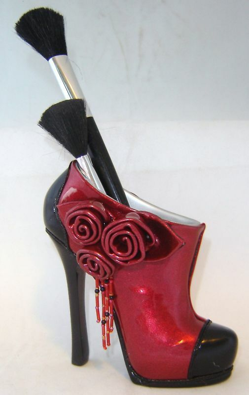 Sexy red stiletto shoe cosmetic brush holder