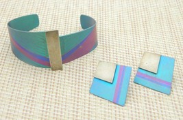 Modern Abstract Blue Purple 1980s Glam Metal Bracelet Earring Set Vintage - $39.60