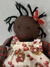 Vintage Folk Art Black Americana Handmade Doll Strawberry Plaid - $13.99