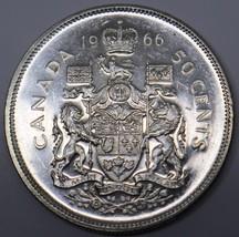 1966 CANADA 50 CENT.800 SILVER AU COIN QUEEN ELIZABETH 2ND DBW - $12.00