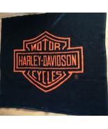 Harley Davidson Black and Orange Fleece Throw Blanket 54x47 - $45.53