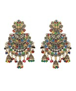 Indian Bollywood Bridal Gold Plated Multi-color Peacock Jumka Earrings J... - $14.60
