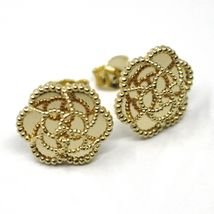 18K YELLOW GOLD BOTTON FLOWER DAISY EARRINGS 14 MM, DOUBLE LAYER WORKED MIRROR image 3