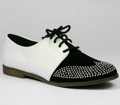 Two Tone White Black Lace Up Silver Studded Oxford Flat Loafers Qupid Strip-85 - $9.99