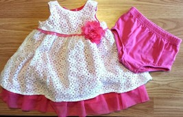 Girl's Size 6-9 M Months 2 Pc Pink/ White Lace Children's Place Floral D... - $15.00