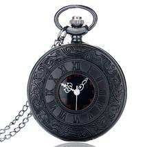 Vintage Charm Black Unisex Fashion Roman Number Quartz Steampunk Pocket ... - $9.29