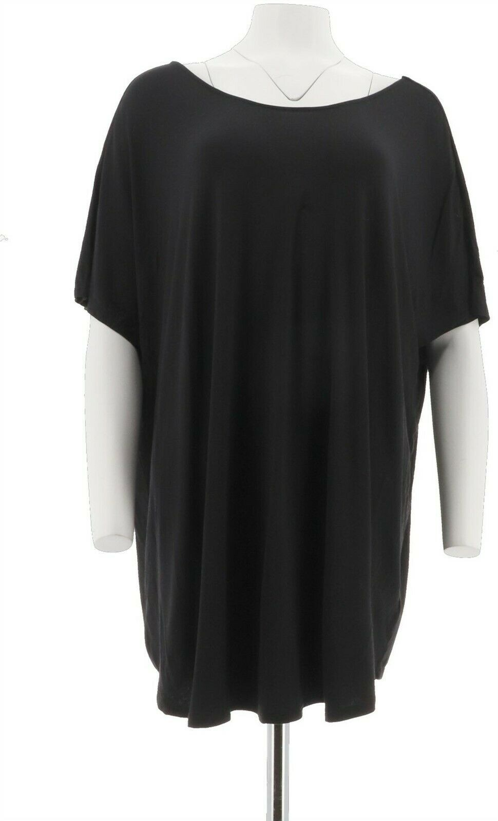 Primary image for Du Jour Extended Shoulder Curved Hem Knit Top Black 2X NEW A293733