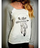 White Gray Casual Top M Hello Friday - $16.64