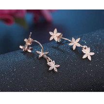 925 Sterling Silver Earrings Mosaic CZ Zircon Star Flower Tassel Earrin... - $9.88