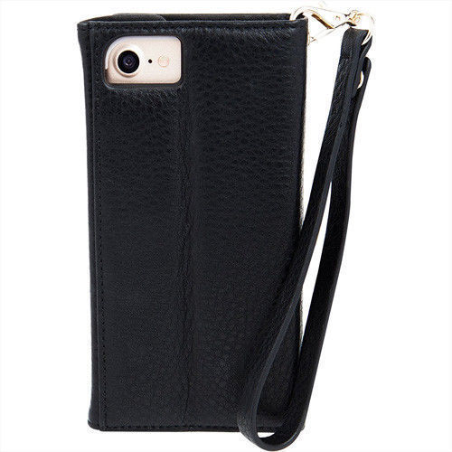 Case Mate iPhone 8 7 Wristlet Protective Folio Wallet Case Black Pebbled Leather