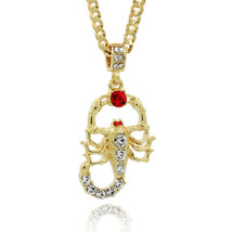 """14K Gold Plated Hip Hop Iced Out Scorpion Pendant 5 mm 24"""" Cuban Chain1 - $12.86"""