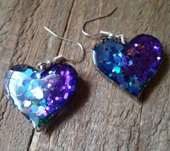 Blue Pink Heart Resin Glitter Earrings - $11.64