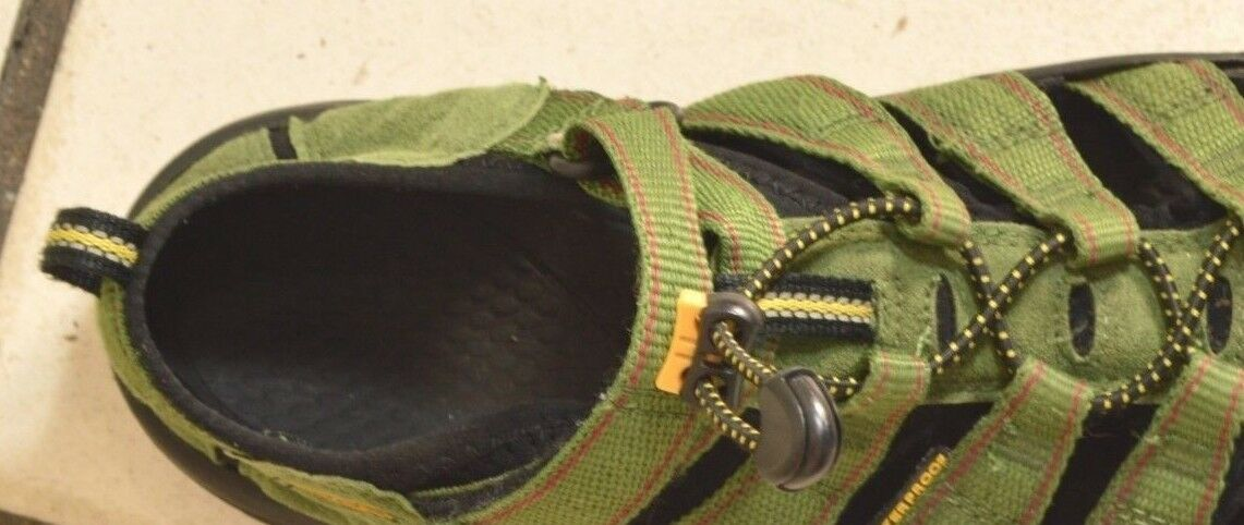 Keen Sandals SZ 5 green canvas leather rubber sole lace up and strap Arroyo