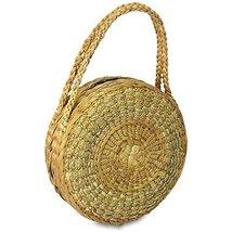 Handwoven Straw Round Shape Tote Purse Bag, Boho Summer Beach Picnic Bas... - $39.99